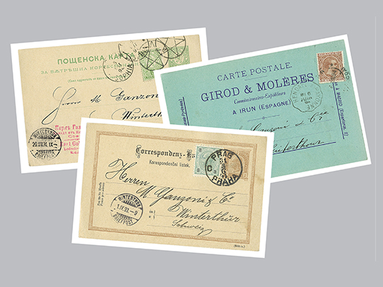 1874 Postcards with orders for Ganzoni products